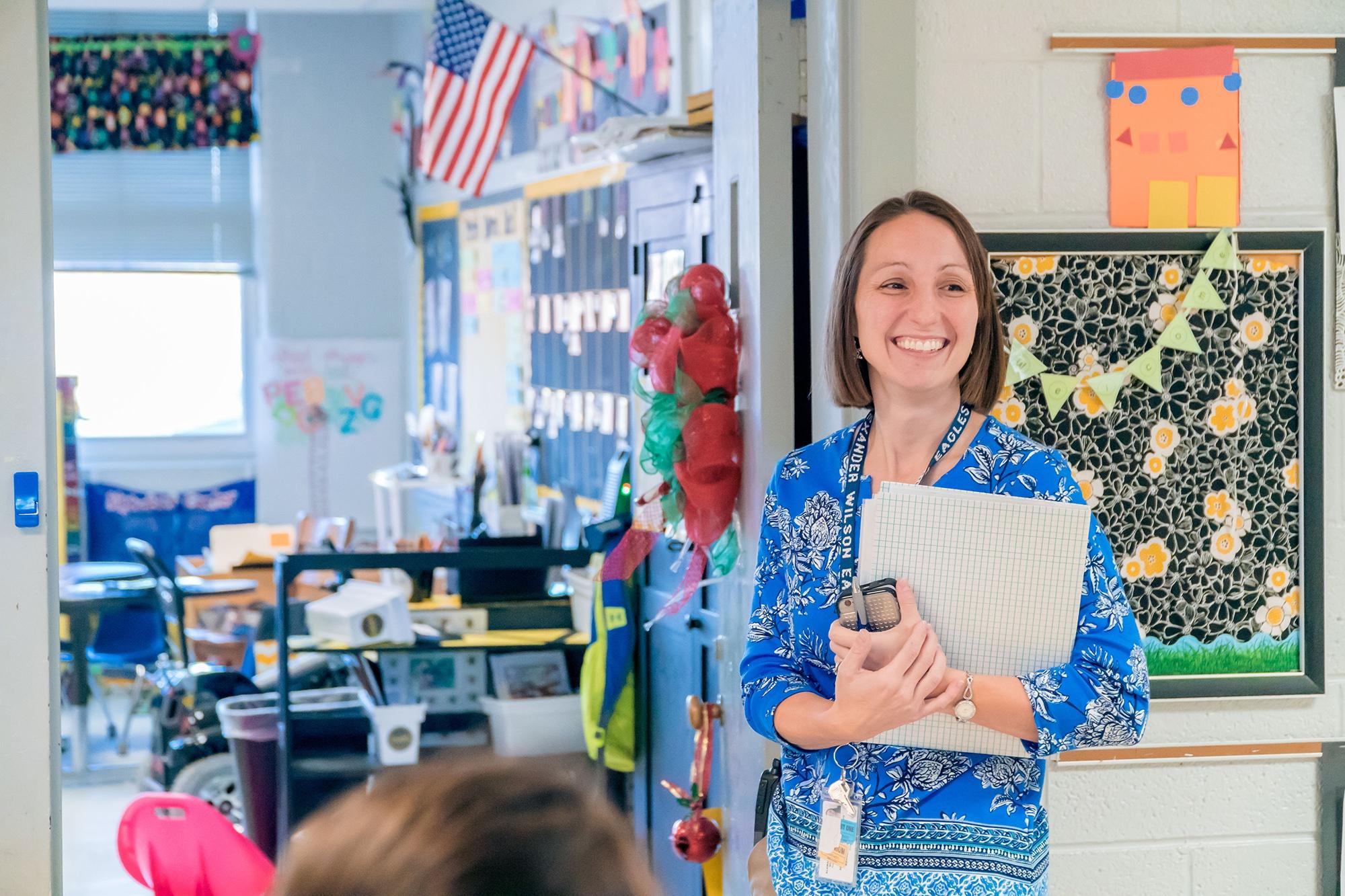 Alamance teacher outside a classroom