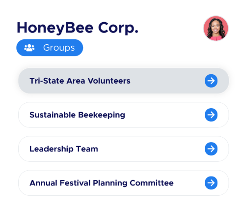 """Illustration of a Community of Practice titled """"HoneyBee Corp."""" with lists of Group names below it"""