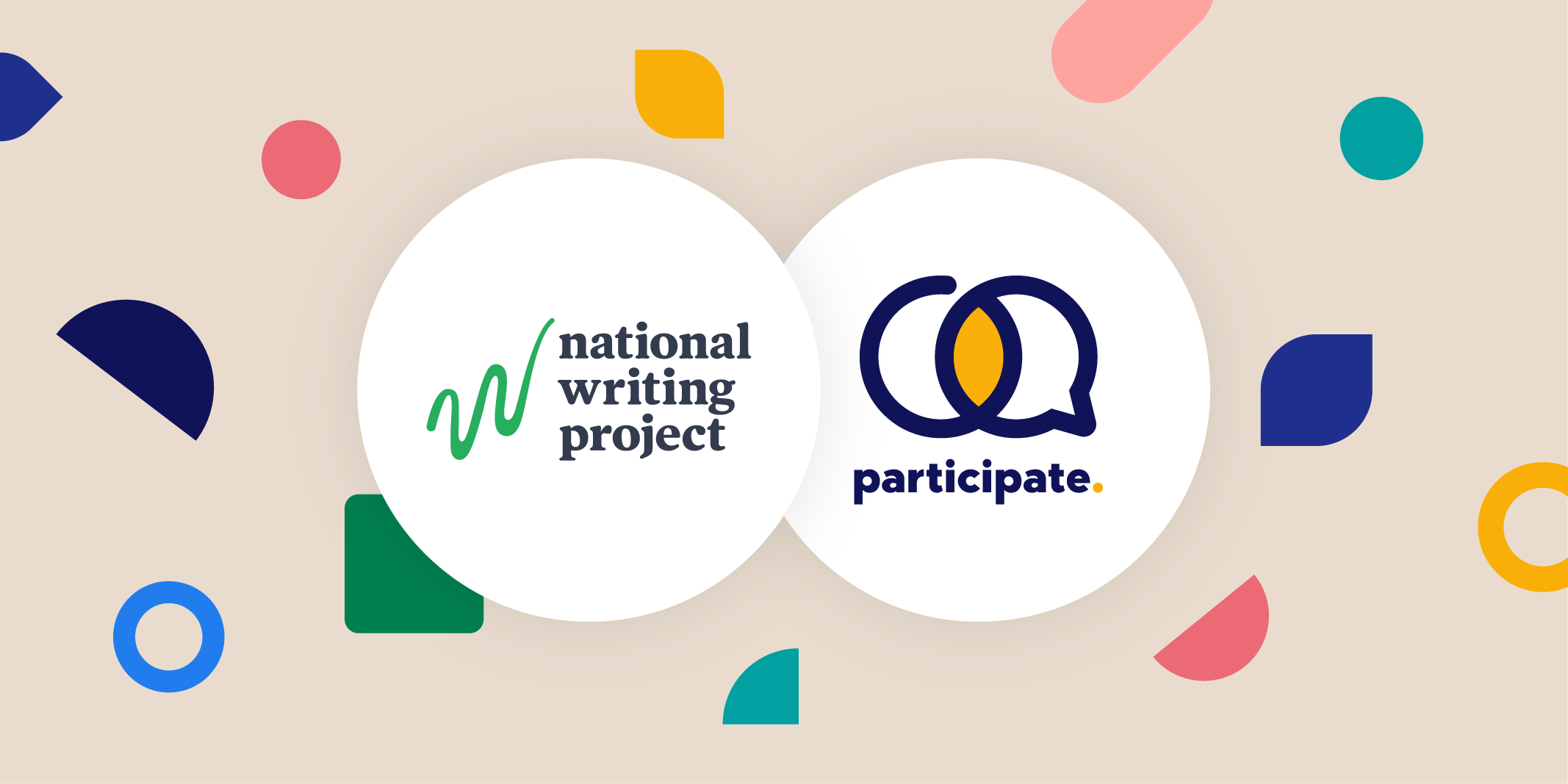 The National Writing Project logo beside the Participate logo surrounded by shapes