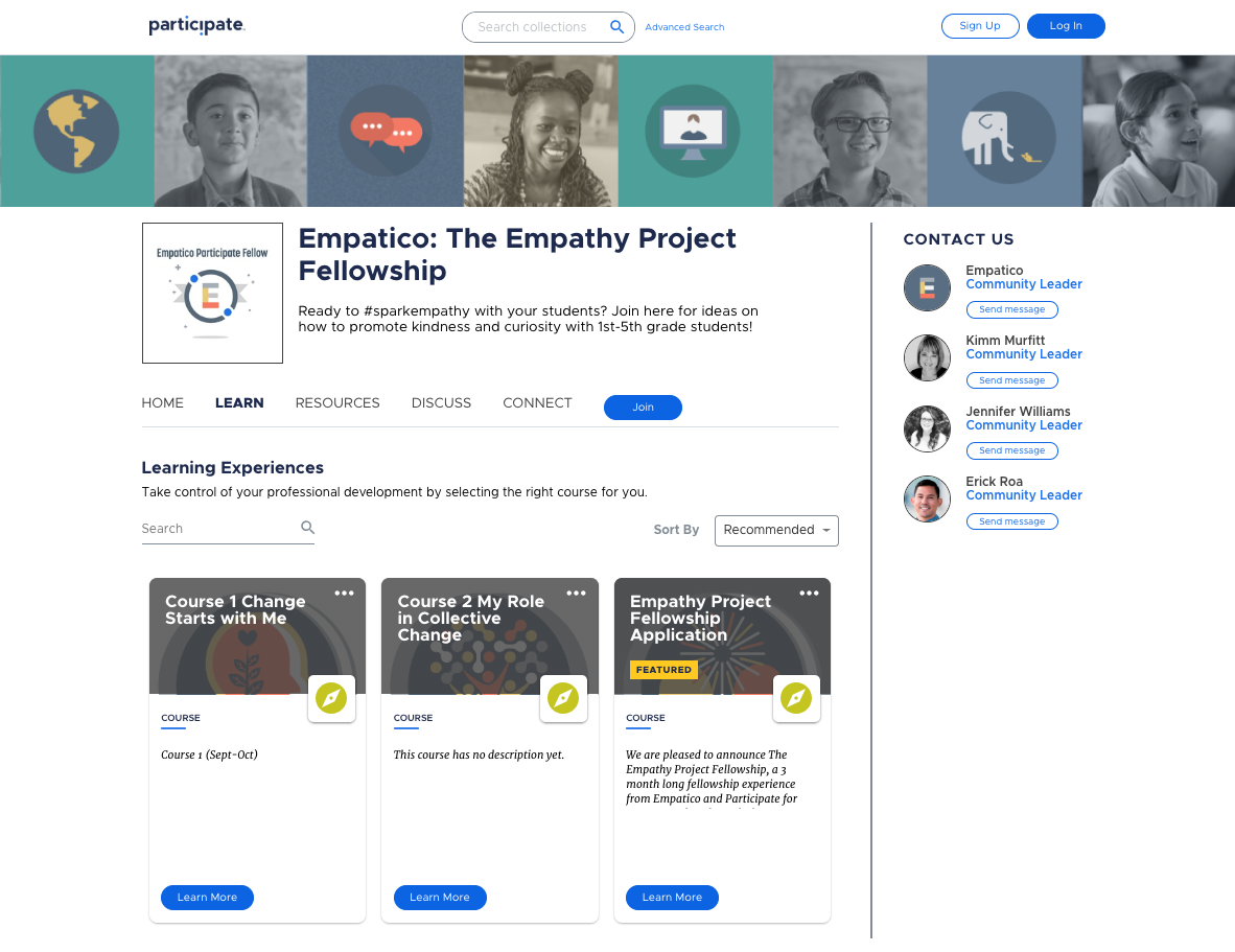 Empathy project learn tab
