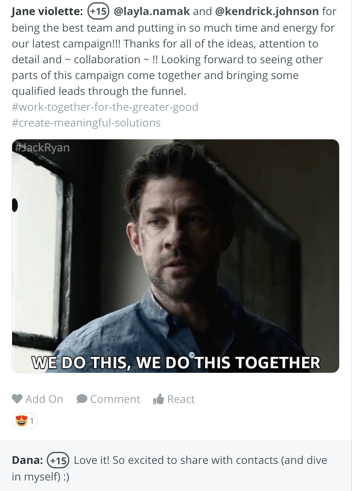 "Bonusly bonus with a gif saying ""we do this together"""