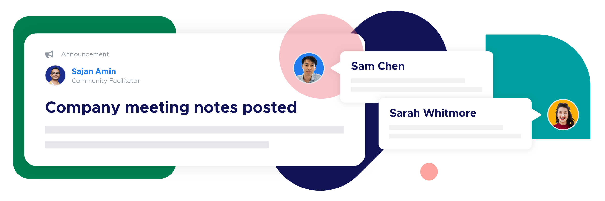 On the left is an announcement post by community facilitator Sajan Amin sharing that company meeting notes are posted. The right side of the image shows direct message chats between community members Sam Chen and Sarah Whitmore.