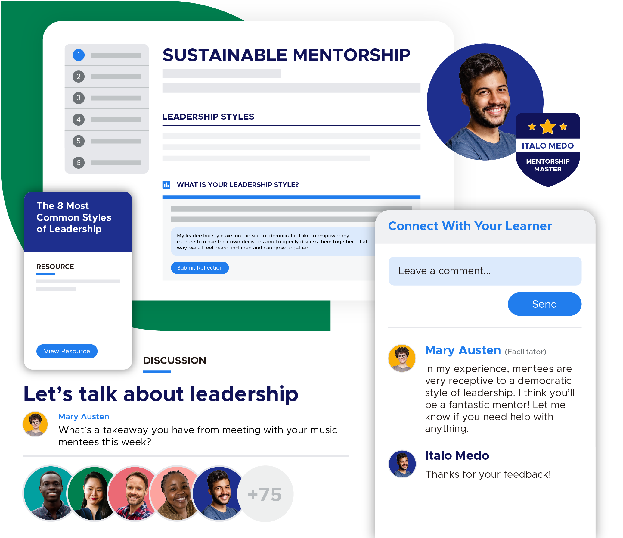 Screenshot inside a Sustainable Mentorship course that member Italo Medo is taking. In the course, he submits a reflection on his leadership style to his mentor, Mary Austen, and there is a chat bubble showing her feedback. On the left, there is a resource showing the top 8 leadership styles and a discussion in the community about leadership.