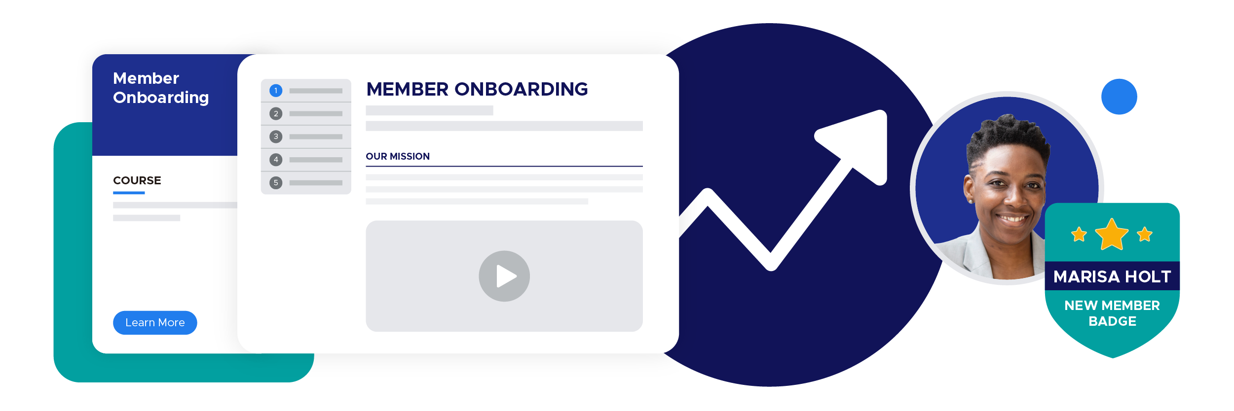 Illustration of a member onboarding course with a new member digital badge