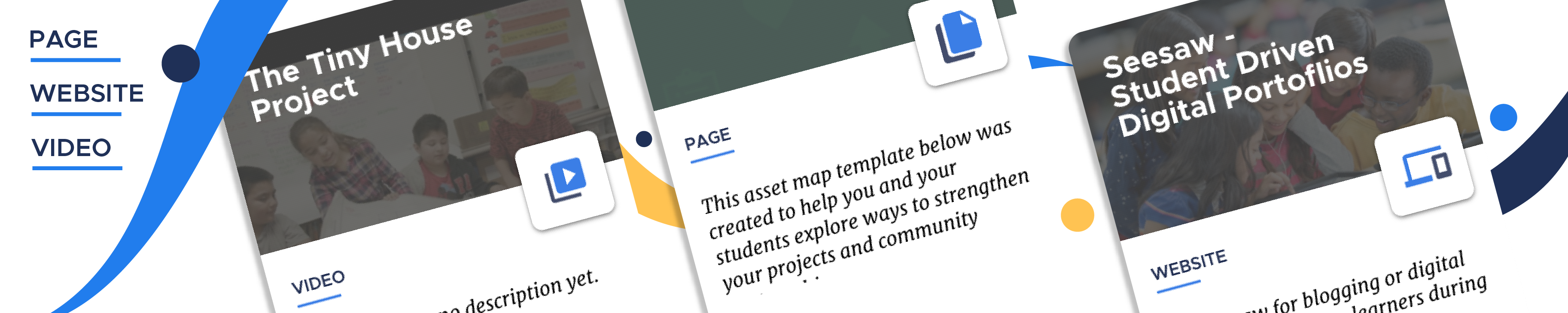 Examples of page, website, and video resource cards on the Participate platform.