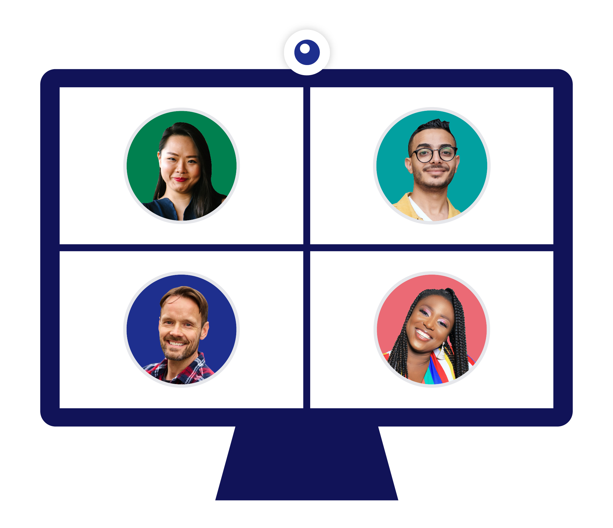 An illustration of a computer screen with a webcam at the top. The screen is split into fourths to show all members of a video call. On each section, there is an avatar for each member of the call. There are two women and two men.